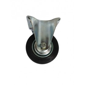 Industrial duty pressed steel fixed bracket with black rubber wheel