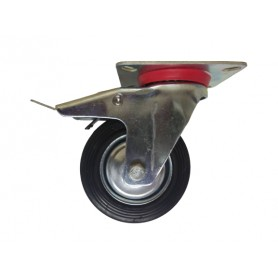 Industrial duty pressed steel swivel, total brake bracket with black rubber wheel