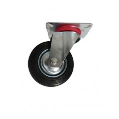 Industrial duty pressed steel swivel bracket with black rubber wheel