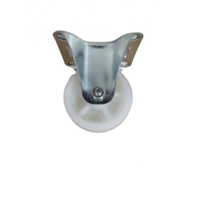 Industrial duty pressed steel fixed bracket with nylon PP wheel