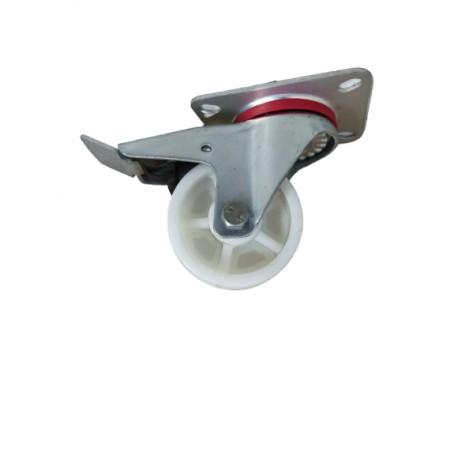 Industrial duty pressed steel swivel, total brake bracket with nylon PP wheel