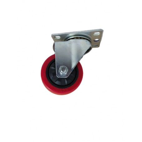 Industrial duty pressed steel swivel bracket with Polyurethane tread mould on PP centre wheel