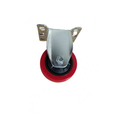 Industrial duty pressed steel fixed bracket with Polyurethane tread mould on PP centre wheel