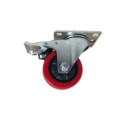 Industrial duty pressed steel swivel, Total brake bracket with Polyurethane tread mould on PP centre wheel