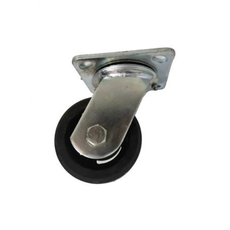 Medium duty welded swivel bracket with solid black pressed rubber tread mould on cast iron centre wheel
