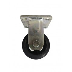 Medium duty welded fixed bracket with solid black pressed rubber wheel