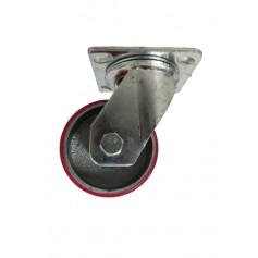 Medium duty welded swivel bracket with Polyurethane tread mould on cast iron wheel