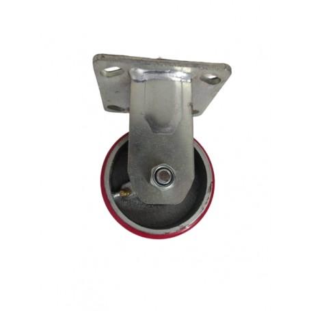 Medium duty welded fixed bracket with Polyurethane tread mould on cast iron wheel