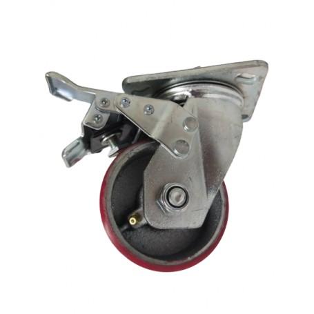 Medium duty welded swivel, total brake bracket with Polyurethane tread mould on cast iron wheel