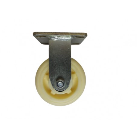 Medium duty welded fixed bracket with nylon wheel