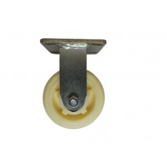 Medium duty welded fixed bracket with nylon wheel