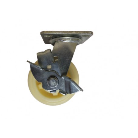 Medium duty welded swivel, side brake bracket with nylon wheel