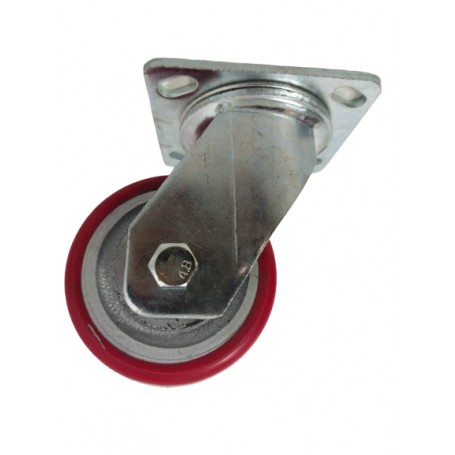Medium duty welded steel swivel bracket with medium duty polyurethane tread mould on cast iron centre wheel