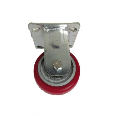 Medium duty welded steel fixed bracket with medium duty polyurethane tread mould on cast iron centre wheel