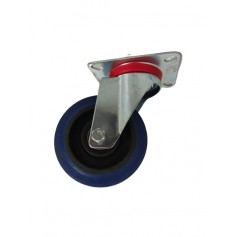 Industrial duty pressed steel swivel bracket with elastic rubber wheel