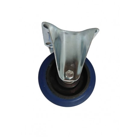 Industrial duty pressed steel fixed bracket with elastic rubber wheel