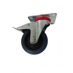 Industrial duty pressed steel swivel, total brake bracket with elastic rubber wheel