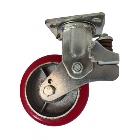 Medium duty shock absorbing welded steel swivel bracket with heavy duty polyurethane mould on cast iron centre wheel