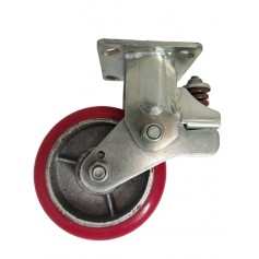 Medium duty shock absorbing welded steel fixed bracket with heavy duty polyurethane mould on cast iron centre wheel