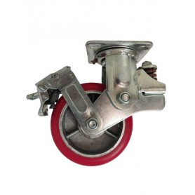 Medium duty shock absorbing welded steel swivel, brake bracket with heavy duty polyurethane mould on cast iron centre wheel