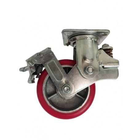Medium duty shock absorbing welded steel swivel, brake bracket with heavy duty polyurethane mould on cast iron centre wheel